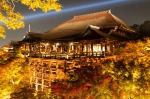 京都音羽山・清水寺の本堂(清水の舞台)秋のã